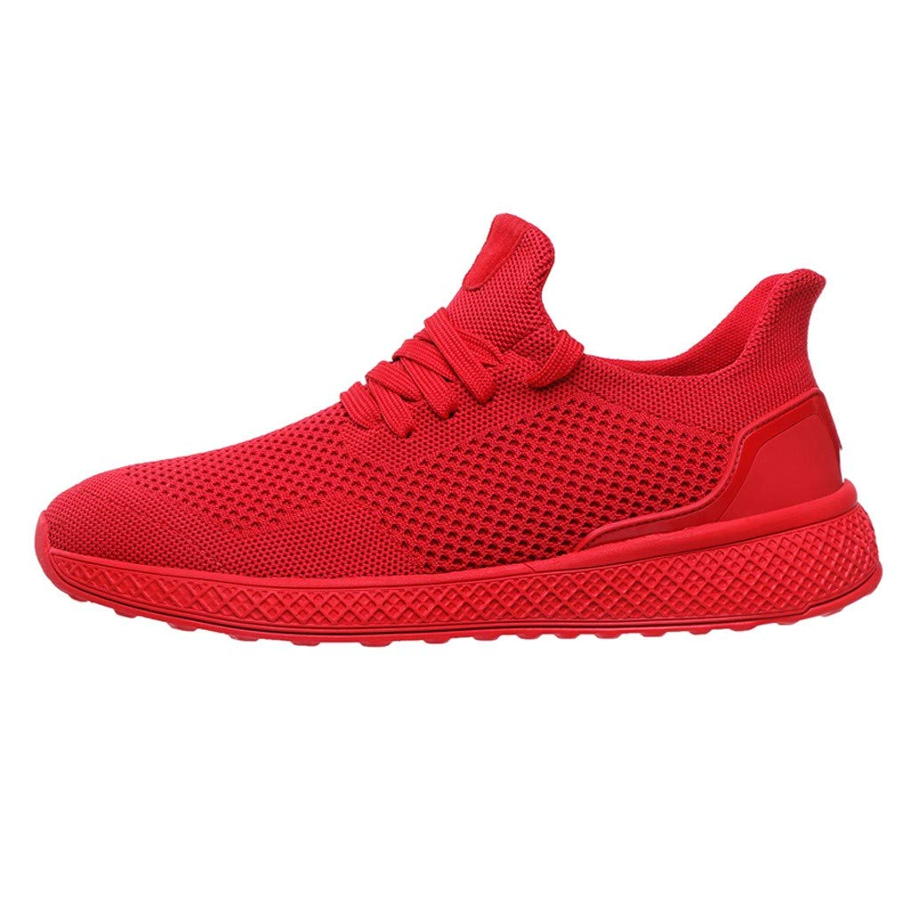 Men's Fashion Sneakers Comfortable Mesh Athletic Walking Casual Shoes Breathable Lace Up Shoes Gym Road Running Shoes Work Sneakers (Red, US:9.5-Foot Length:10.8'')