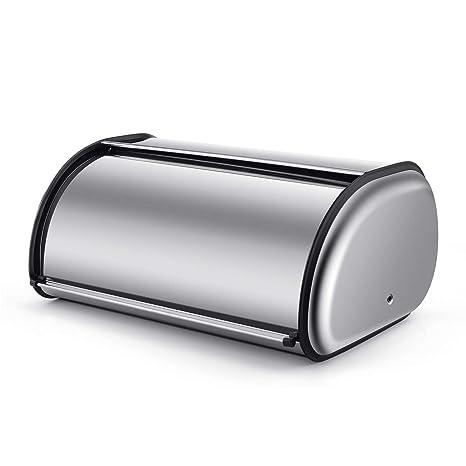 Elumaxon - Panera de acero inoxidable con tapa enrollable de ...