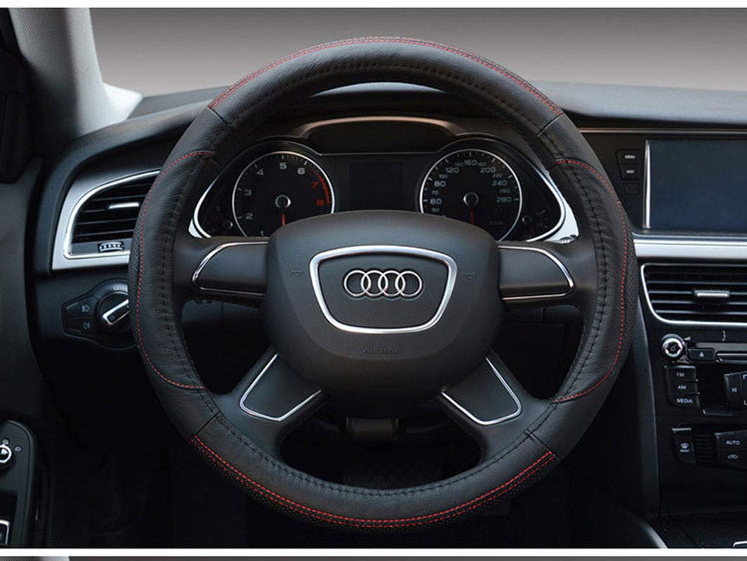 Car Steering Wheel Cover Leather Steering Wheel Cover 15 Inches in Diameter for All Seasons,Black