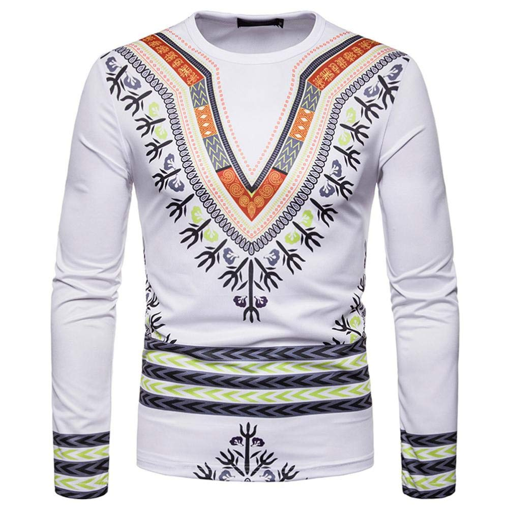 kaifongfu Men African 19D Print Long Sleeve Round Neck Top Shirt WhiteL