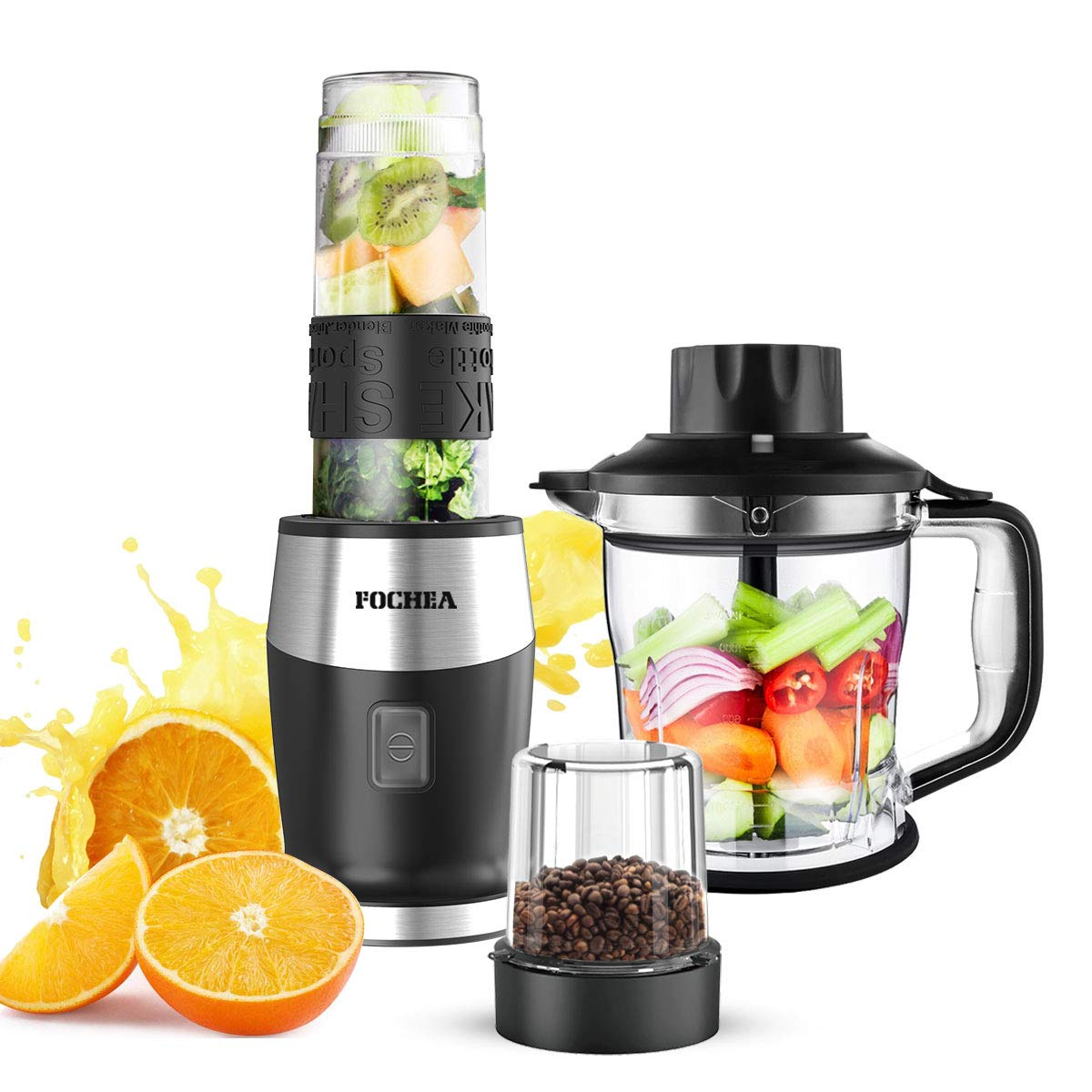 Smoothie Blender, High-Speed Personal Blender for Smoothies and Ice Shakes, 2019 Upgraded 3-in-1 Professional Blender for Mixer / Chopper / Grinder , With 19 Ounce Portable BPA-Free Bottle, 700 Watt by FOCHEA