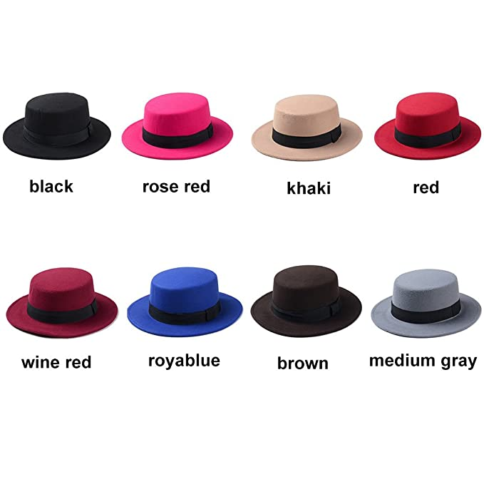 190a2cf6454 FAVOLOOK Women s Wool Boater Flat Top Hats Felt Wide Brim Church Derby  Fedora Caps at Amazon Women s Clothing store