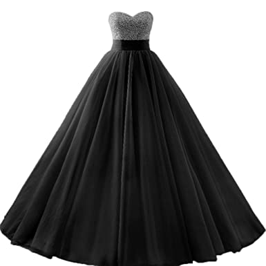 Diandiai Quinceanera Dresses Tulle Beads Ball Gown Long Prom Dress Black 2