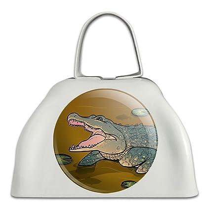 Alligator en pantano con Lily Pads metal blanco cencerro, campana ...