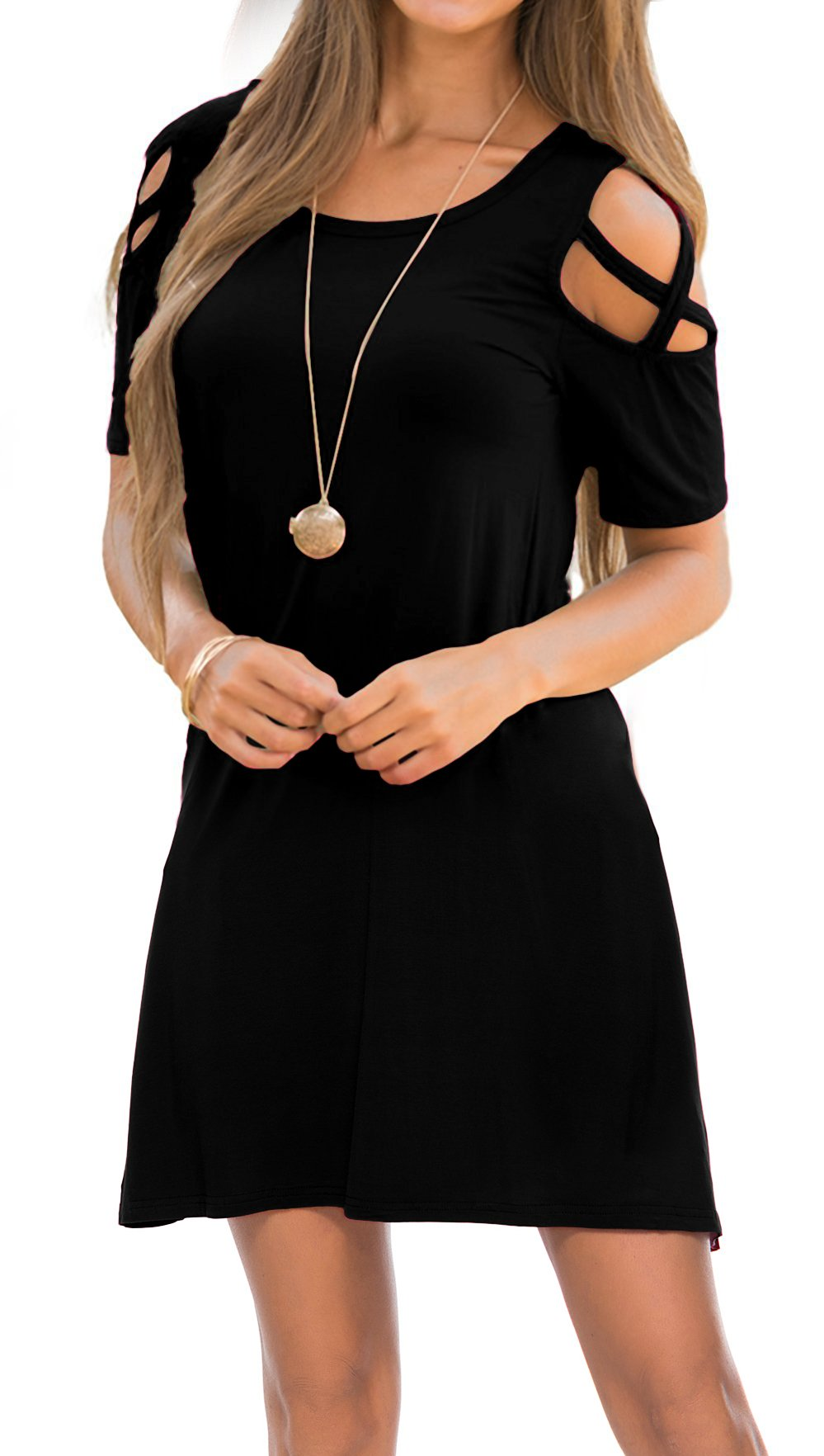 Oyanus Womens Summer Strappy Cold Shoulder Dress with Pocket Swing T-Shirt Loose Dresses Black M