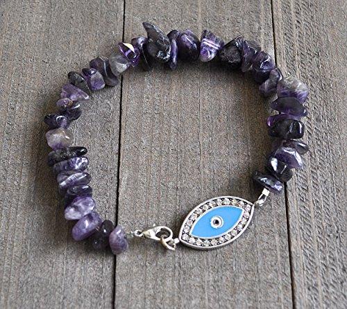 Evil Eye Amethyst Gemstone Bracelet, February Birthday,Chakra Bracelet, Yoga Bracelet, Amethyst Fancy Teardrop Nuggets (Fancy Nugget)