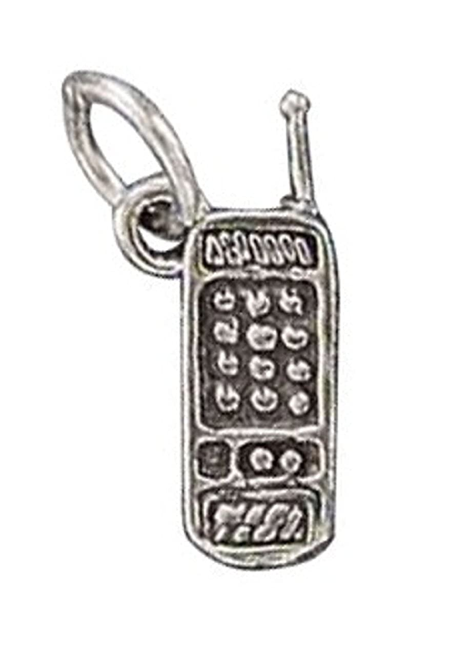 Sterling Silver Womens 1mm Box Chain 3D Cell Phone Pendant Necklace
