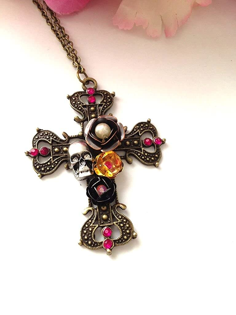 Skulls and roses necklace by Gina Louise