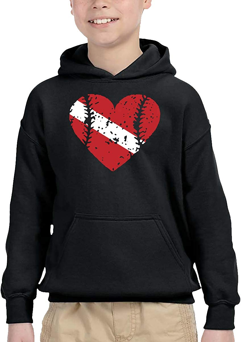 UGFGF-1S Baseball Heart Dive Flag Toddler Boys Girls Long Sleeve Sweatshirts Pullover Hoodie 2-6T