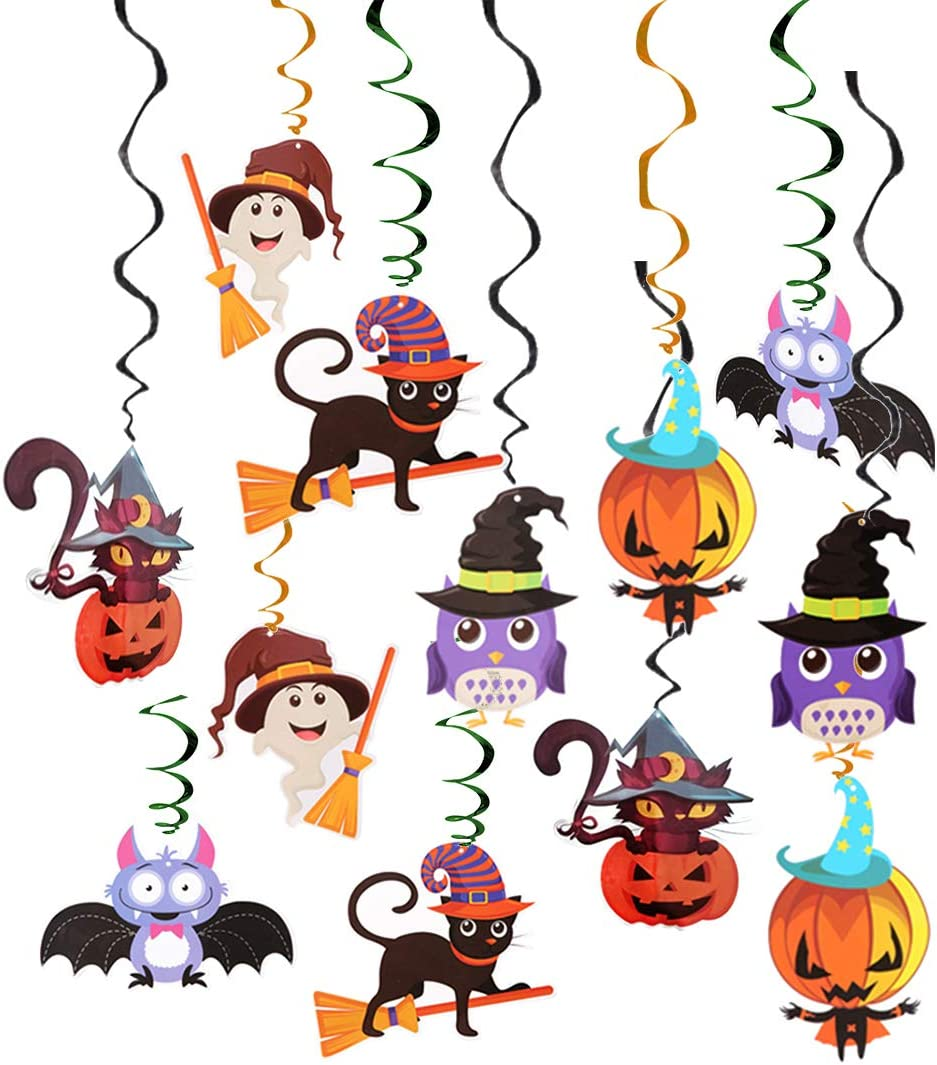 Halloween Hanging Swirl Decorations, Colorful Ceiling Whirl Streamers Spirals Foil with Bat Witch Skull Spider Ghost Pumpkin Monster Cards Party Supplies and Favors for Home Outdoor Indoor Decor and Baby Shower Festival Party