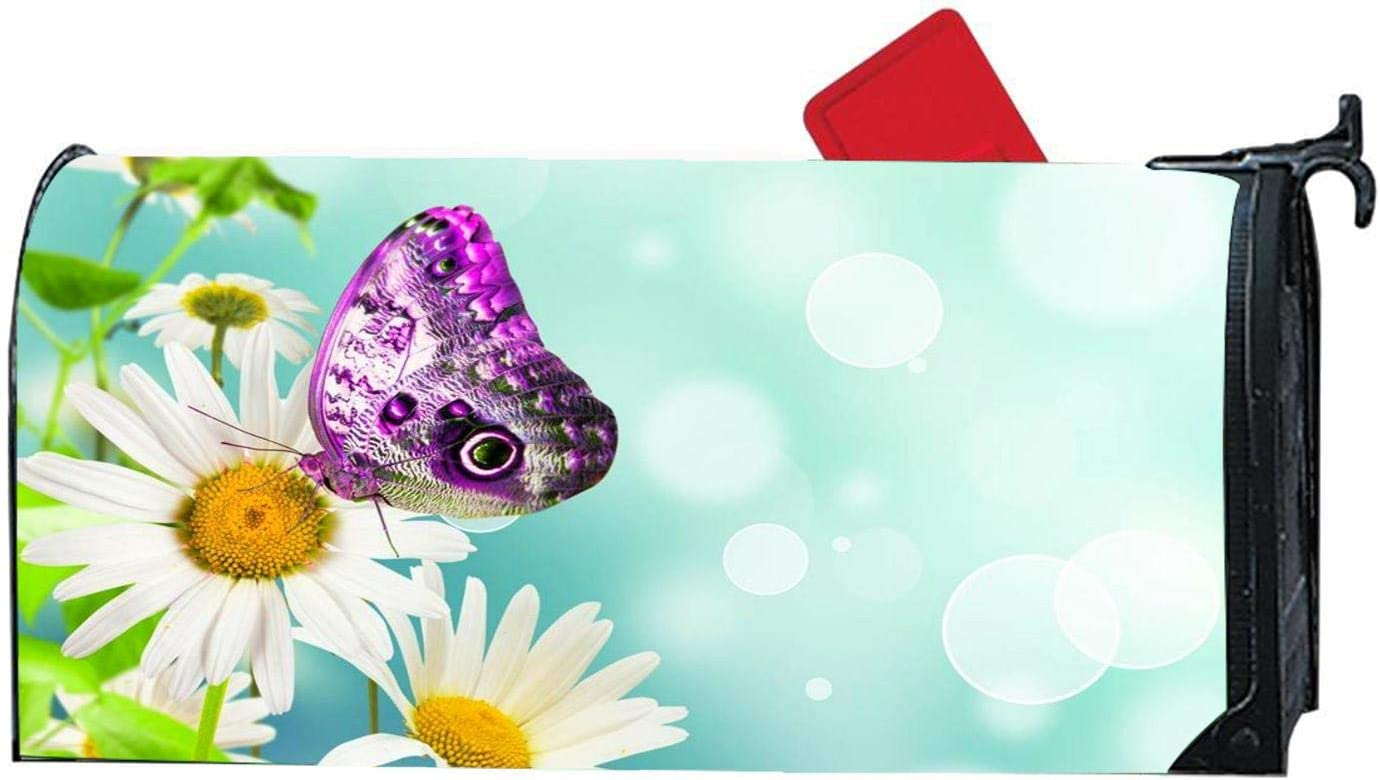 Vinyl Mailbox Makeover Cover Full Magnet on Back 6.5 x 19 Standard Size Monarch Purple Flowers Butterfly Magnetic Mailbox Cover Mailwrap