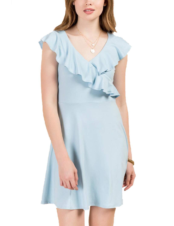 Blooming Jelly Women's Elegant Sleveless V Neck Ruffle Crossed Mini Dress Blue