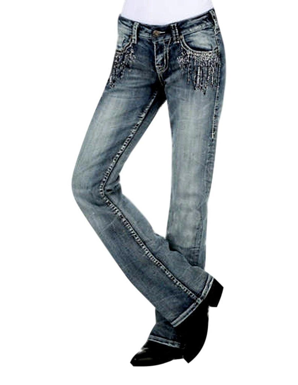 Cowgirl Tuff Western Denim Jeans Womens Crystal Waterfall Med JCWATR