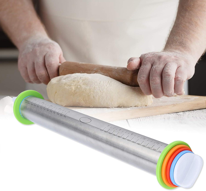 Jeffergarden Rodillo de Acero Inoxidable Ajustable Rodillo con Escala para el hogar Cocina panadería