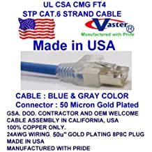 """200 Ft STP Cat.6 550MHz Patch Cable, Made in USA, Cat6 High Performance STP Cat6 Patch Cable (Blue) - UL CSA CMG FT4 and 100% Copper. 24Awg, 50u"""" Gold Plating"""