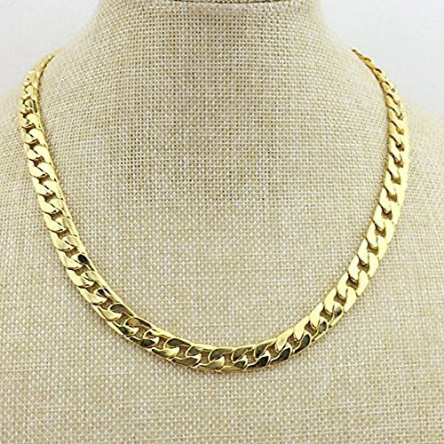 Tool Station Gold Chain, Gold Necklace, Necklace for Men, Feel Real Solid 18k Gold Plated Curb Fake Chain Necklace 24