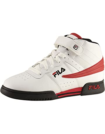 498cd42fd674 ... School Jet 2017 Running Shoe. Fila Boy s F-13 Navy White Red Leather  Mid-Top Basketball Sneakers