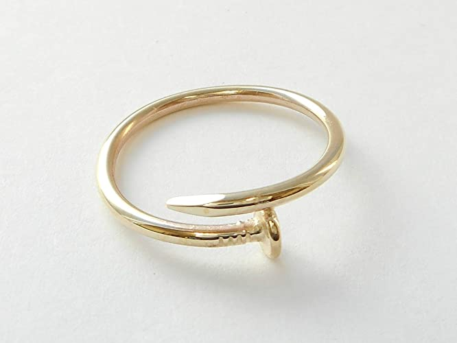 Amazon Com 10 K 14 K Solid Gold Nail Design Band Ring Solid