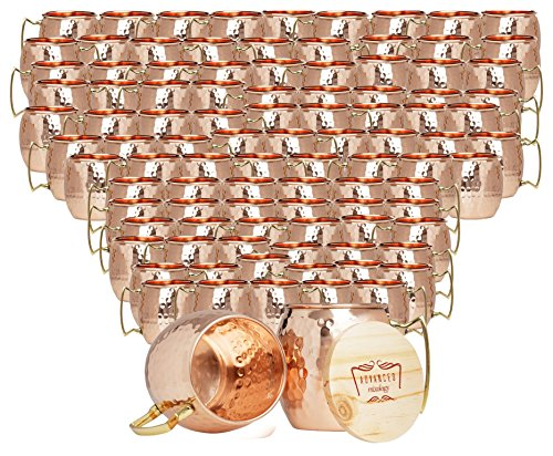 Set of 100 100% Pure Copper Moscow Mule Mugs By Advanced Mixology (16 oz each) with 100 Artisan Hand Crafted Wooden Coasters - Barrel With Brass Handle by Advanced Mixology