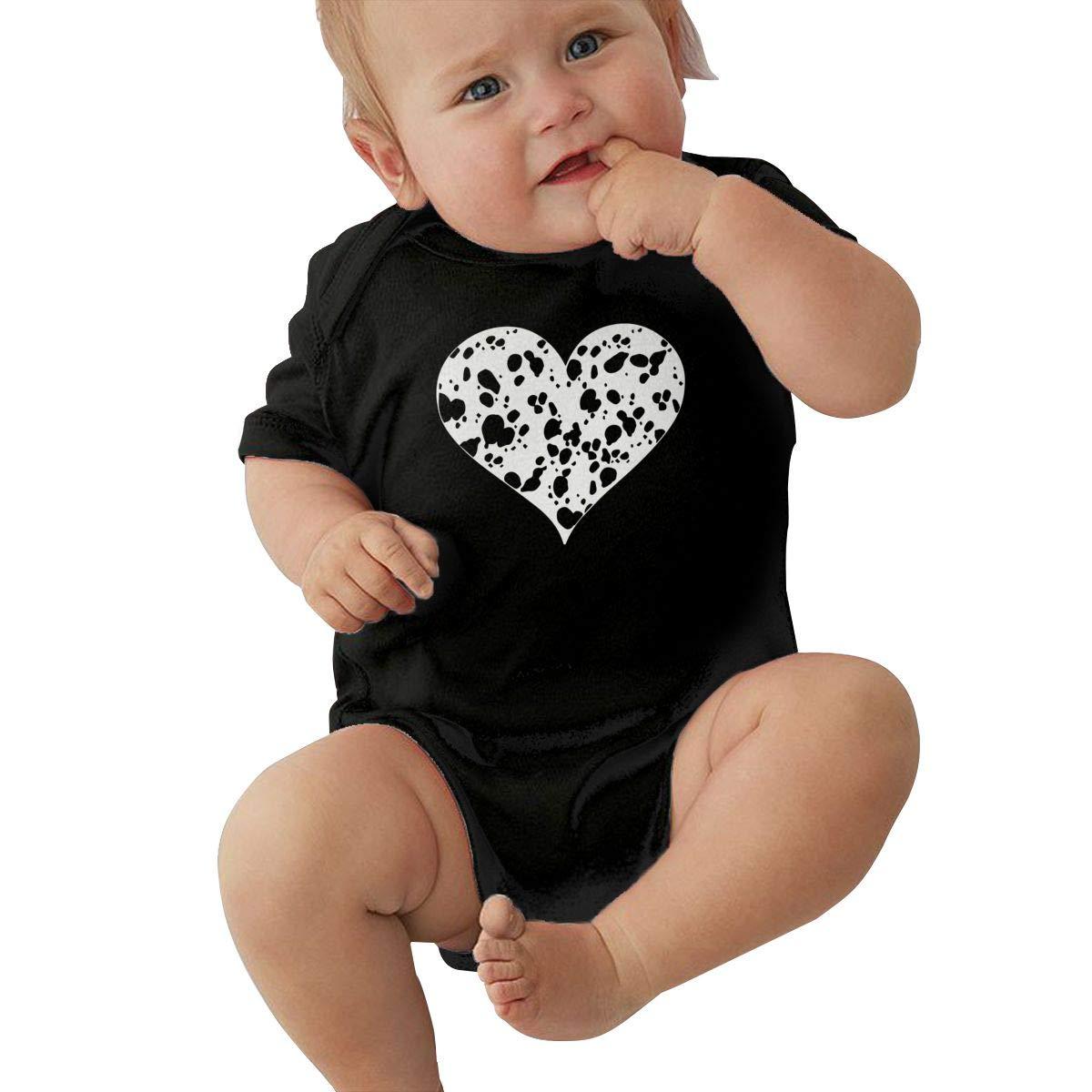 Mri-le2 Baby Boy Short Sleeve Bodysuit Dalmatian Heart Toddler Jumpsuit