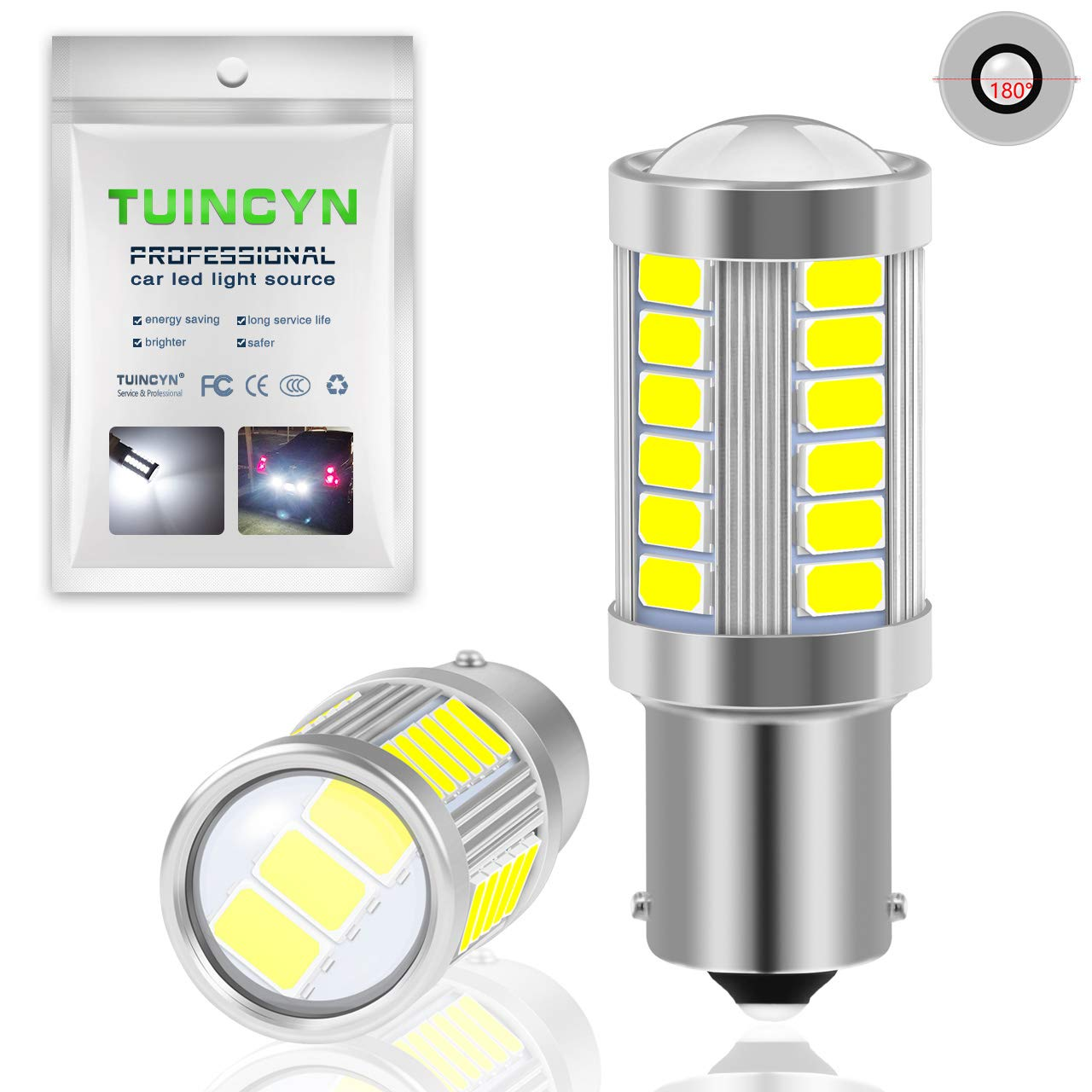 Pack of 4 TUINCYN 1157 BAY15D LED Bulb Amber Yellow Turn Signal Light Bulb Super Bright 8000K 5630 33SMD 1016 1034 7528 2057 Tail Brake Light Back Up Reverse Light Parking Light DC 12V