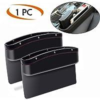 Ekron Car Seat Pockets Side Organizer Pu Leather Car Console Seat Gap Filler Catch Caddy 9.2x6.5x2.1 inch (Black – 1 Piece)