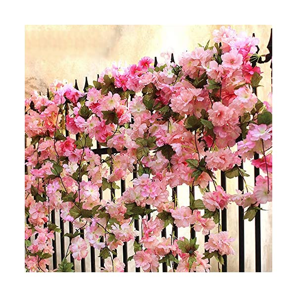 Hukidoy Artificial Cherry Blossom Garland Hanging Vine Fake Flowers Silk Garland Home Wedding Party Decor (Pack of 2) (Pink)
