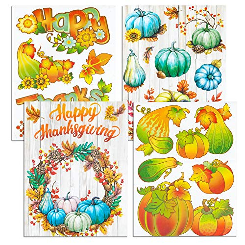 Thanksgiving Window Clings Set -- Over 30 Deluxe Fall Autumn Thanksgiving Clings (Thanksgiving Window Decorations) ()