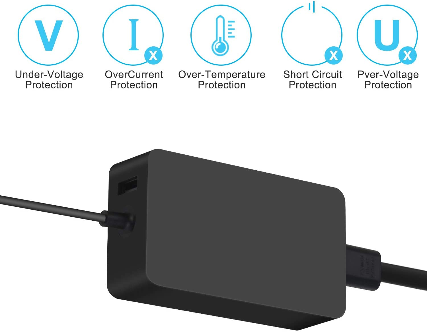 Surface Go 2 1 fit Model 1706 1800 1625 Charger 65W Surface Pro 7 Pro 6 Pro 5 Pro 4 Pro 3 Power Supply Charger for Microsoft Surface Book Surface Laptop 3 2 1 Surface Tablet Surface Book Charger