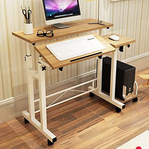 "LULUXI 31.5""W23.6""D Height Adjustable Computer Computer Laptop Desk on Wheels With Host Holder, OAK wood by LULUXI"