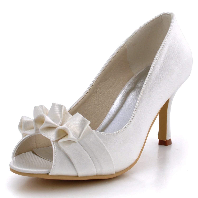 Qiusa GYMZ710 Damen High Heel Satin Abend Party Party Party Prom Braut Hochzeit Schuhe Pumps Sandalen Flatfs (Farbe   Weiß-7.5cm Heel Größe   3 UK) e9aaf9