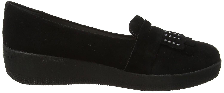 FitFlop Damen Schwarz Studded Fringey Sneakerloafer Slipper, Schwarz Damen 9ece8a