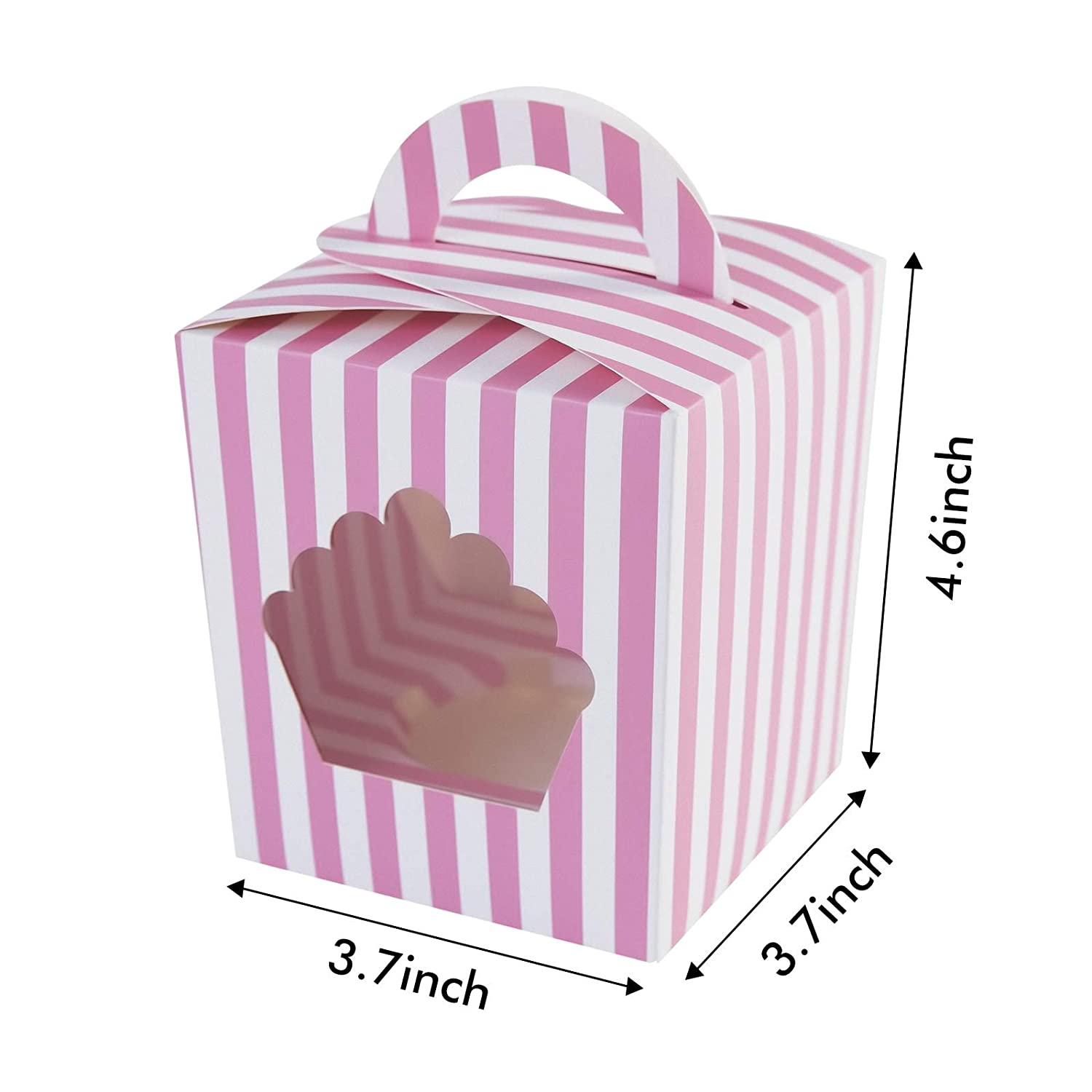 Large Single Cupcake Boxes Containers,Pink Individual Cardboard Cupcake Box Carrier with Insert /& Handles and PVC Window For Birthday and Party Favors Pink, 15