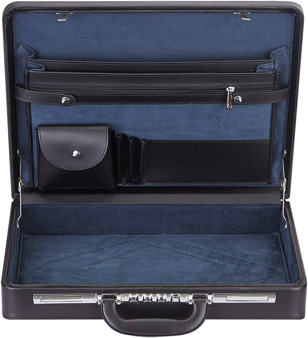 Hard Attache Expandable Briefcases for Men & Women/Hard-sided Laptop Case with Combination Locks - Black