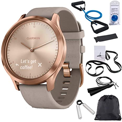 Garmin Vivomove Hr Premium Rose Gold W/Gray Suede Band + Extra Band Granite Blue (010 01850 19) With Deco Gear 7 Piece Fitness Kit by Garmin