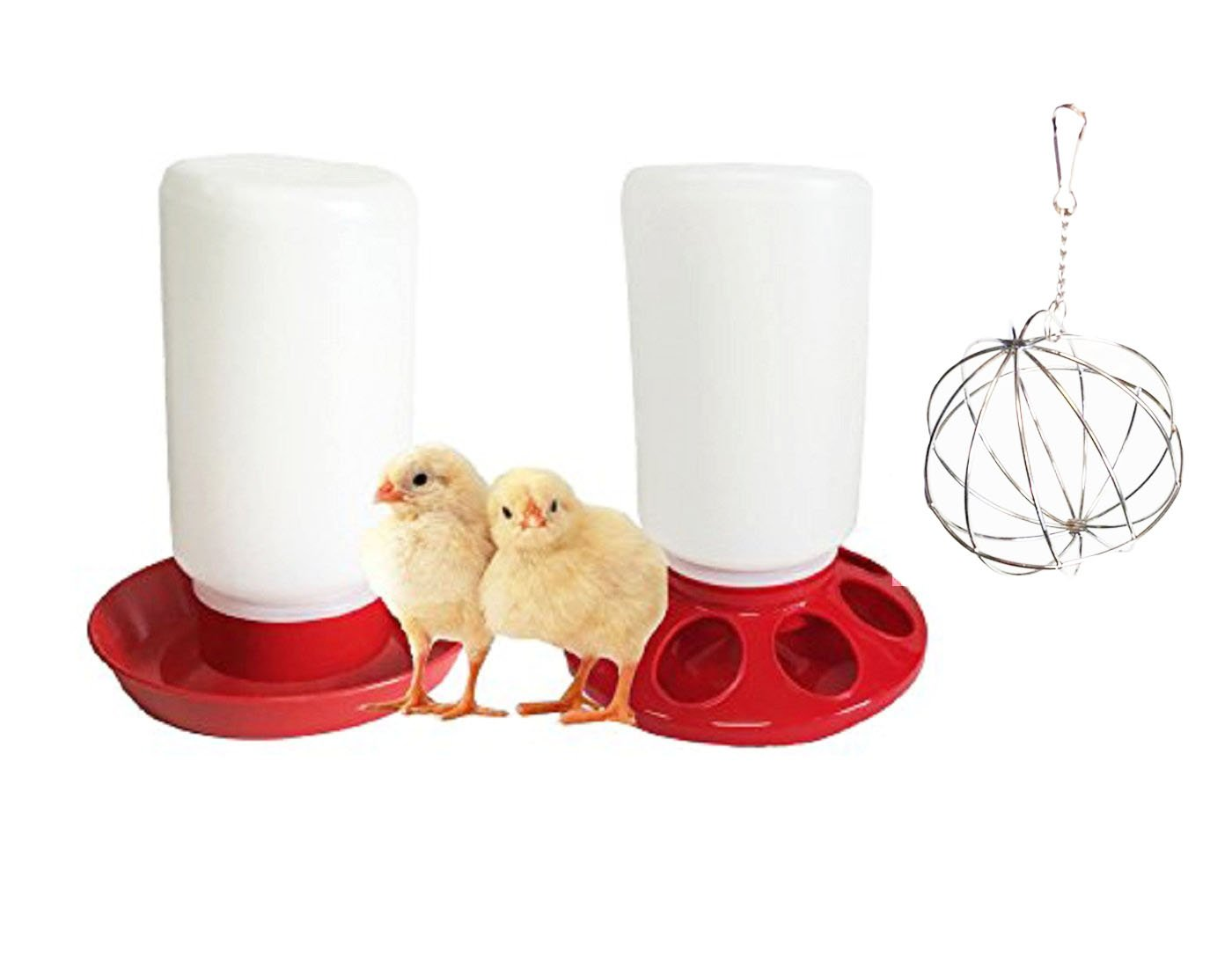 Chicken Starter Kit Supplies: Chicken Feeder, Waterer and Treat Ball - All You Need To Start Raising Chicks by UberMade