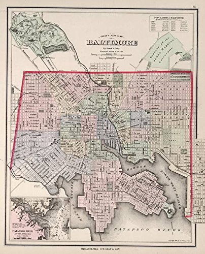 Imagekind Wall Art Print Entitled Vintage Map of Baltimore MD (1876) by Alleycatshirts @Zazzle | 16 x 20
