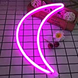 Crescent Neon Light Moon LED Neon Signs Art Wall Lighting Decor for House Bar Recreational, Birthday Party Kids Room, Living Room, Wedding Party … (Pink moon)