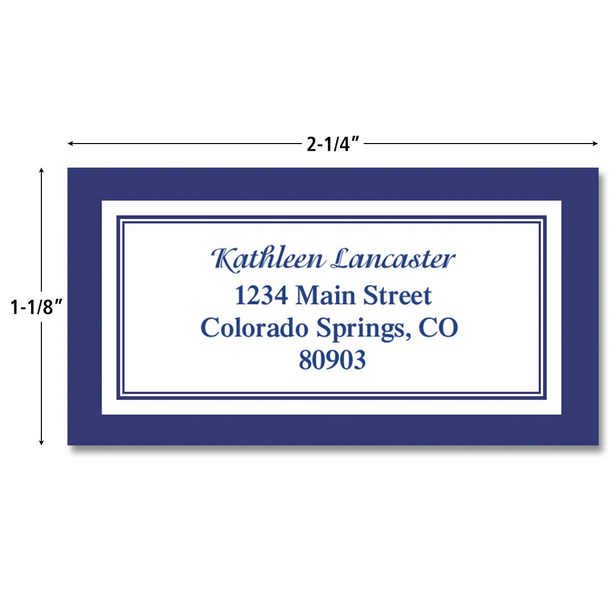 Navy crisp border personalized return address labels set of 144 large self adhesive flat sheet labels by colorful images