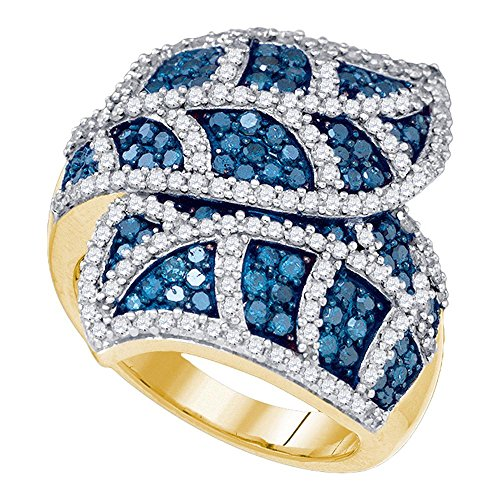 10kt Yellow Gold Womens Round Blue Color Enhanced Diamond Leaf Flower Stripe Fashion Ring 2.00 (0.25 Ct Diamond Leaf)