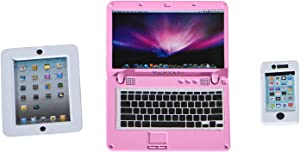 ANNI STAR Dollhouse Accessories, Kids Computer, Kids Tablet and Toy Phone, Age 3-8, 3 Piece Set