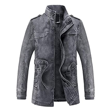 Fashionhe Hooded Outwear Mens Autumn Winter Casual Hoodie Zipper Thermal Leather Jacket Top Coat