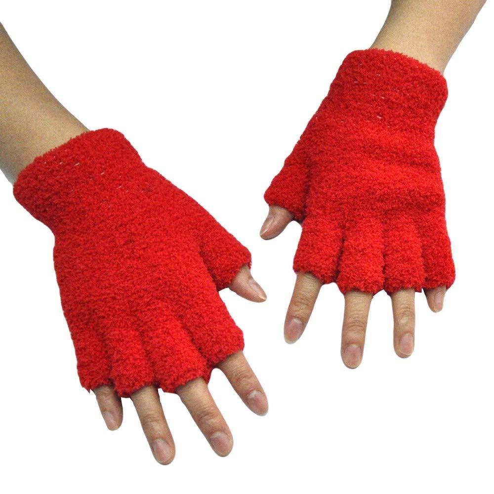 Unisex Gloves Mitten Fingerless Fleece Half-Fingers Fuzzy Adult Warm Winter
