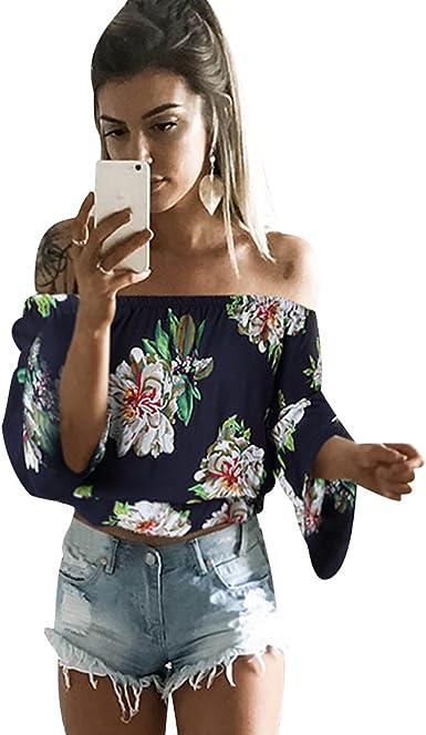 ISSHE Blusas Manga Larga Mujer Fiesta Blusa Sin Hombros Estampadas Flores Blusones Camisetas Señora Cami Tops Crop Top Camiseta Camisas Amplias Camisa Femeninas Oversize Verano Elegantes: Amazon.es: Ropa y accesorios