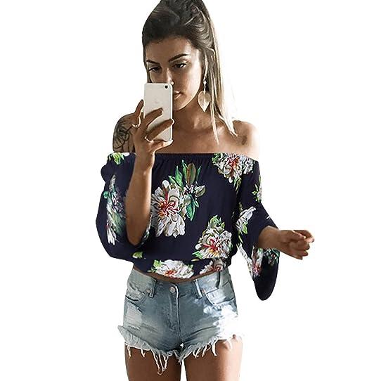 ISSHE Blusas Manga Larga Mujer Fiesta Blusa Sin Hombros Estampadas Flores Blusones Camisetas Señora Cami Tops