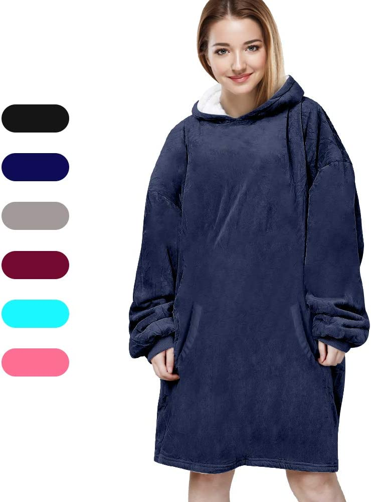 Felicigeely Blanket Sweatshirt,Oversized Hoodie Wearable Blanket,Soft Warm Comfortable Giant Front Pocket for Adults Men Women Teens Friends