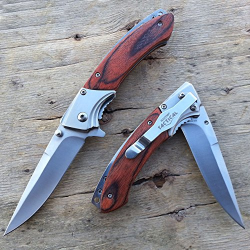 "8"" Tactical Spring Assisted Survival Wooden Handle hunting Folding Pocket Knife W/ Pocket Clip Bowie 