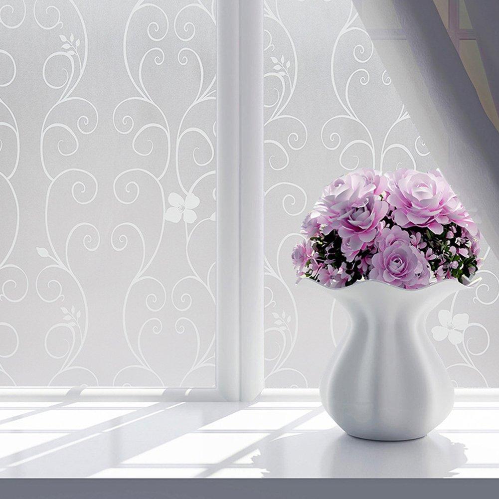 Geklok 200x 60cm/200x 40cm fiore finestra pellicole pellicola autoadesiva vetro bagno sticker stanza da bagno doccia casa di vetro della finestra porta privacy film adesivo in PVC satinato, White, 45*200 cm