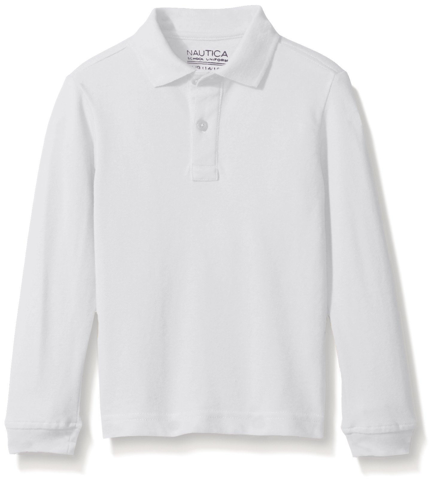 Nautica Little Boys' Uniform Long Sleeve Pique Polo, White, Medium/5