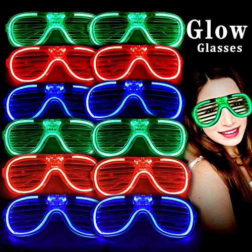 M.best Unisex Fashion Plastic Glow Light LED Light Up Shades Toy Glasses Party Favors Supplies Set of 12
